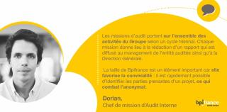 Portrait de Dorian, chef de mission d'Audit Interne